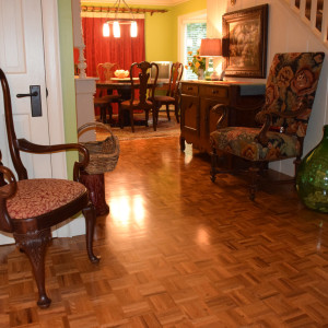 stained red oak parquet floor
