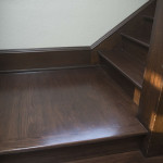 refinished hardwood stair landing