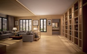 Light hardwood in modern living room