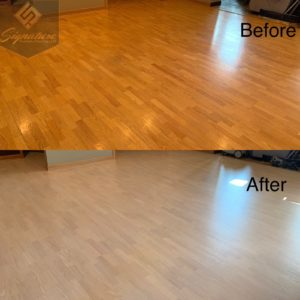 white stained red oak floors
