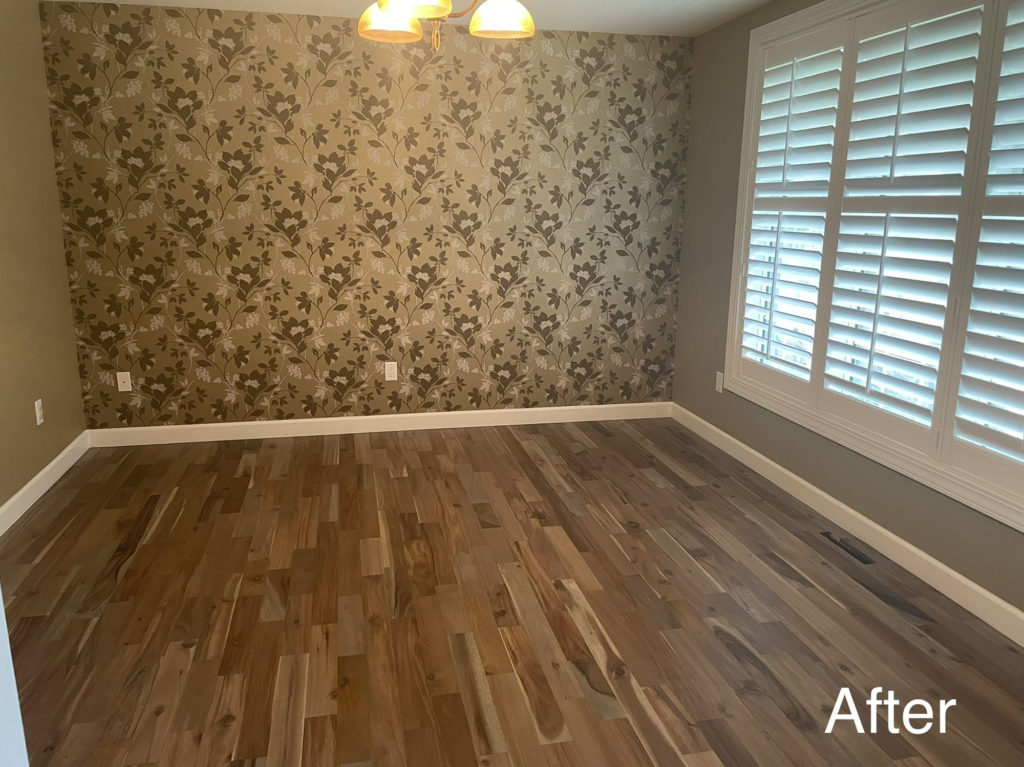 red toned wood floor after